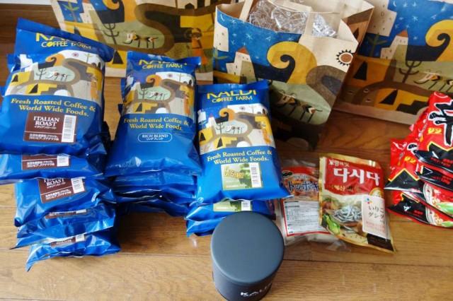 韓国食材と大量のコーヒー豆