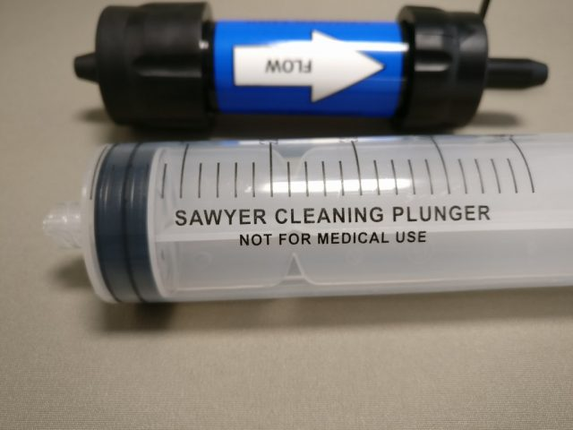 SAWYER PRODUCTS ミニ 浄水器 SP128 注射器 なにやら書いてある