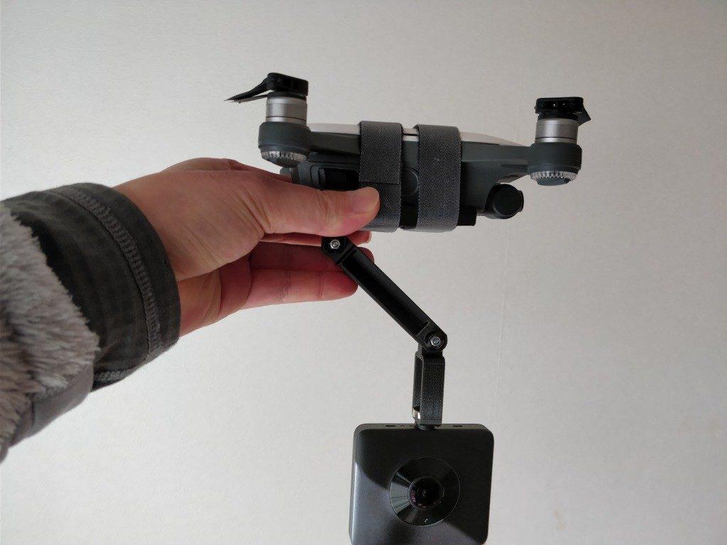 DJI Spark+360度カメラ  室内テスト